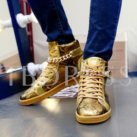 Round Toe Flat Heel Ankle Chain Lace-Up Front Men's Sneakers