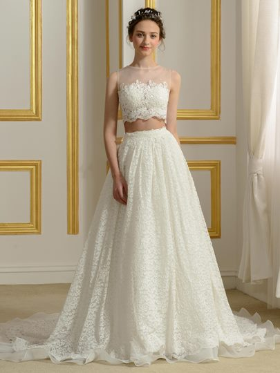 Sheer Neck Two Piece Lace Wedding Dress