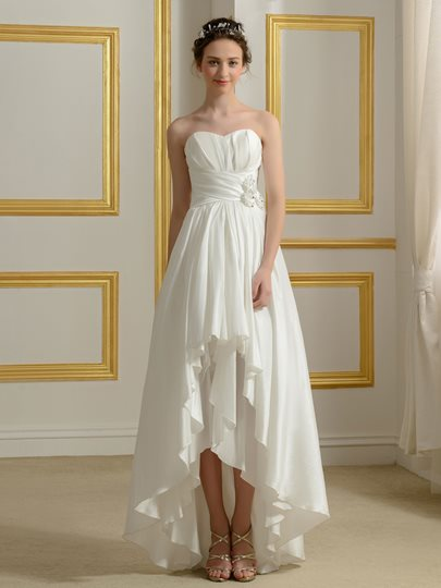 Asymmetry High Low Strapless Taffeta Beach Wedding Dress
