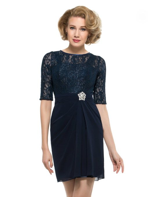 Half Sleeve Lace Short Mother of the Bride Dress