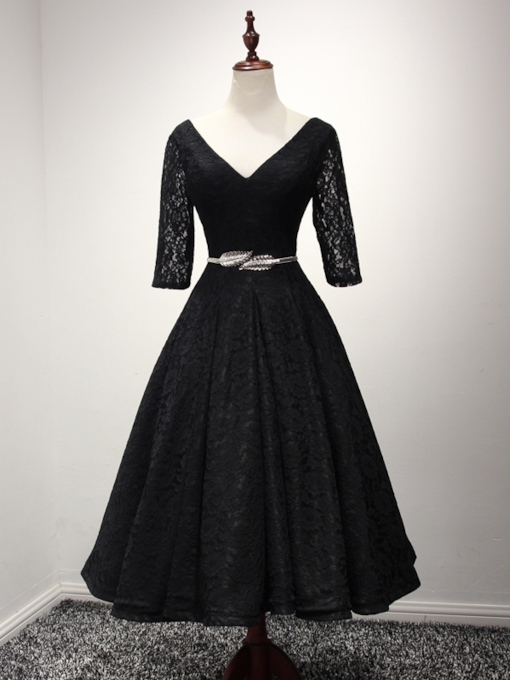 Half Sleeves Belt Lace Tea-Length Evening Dress