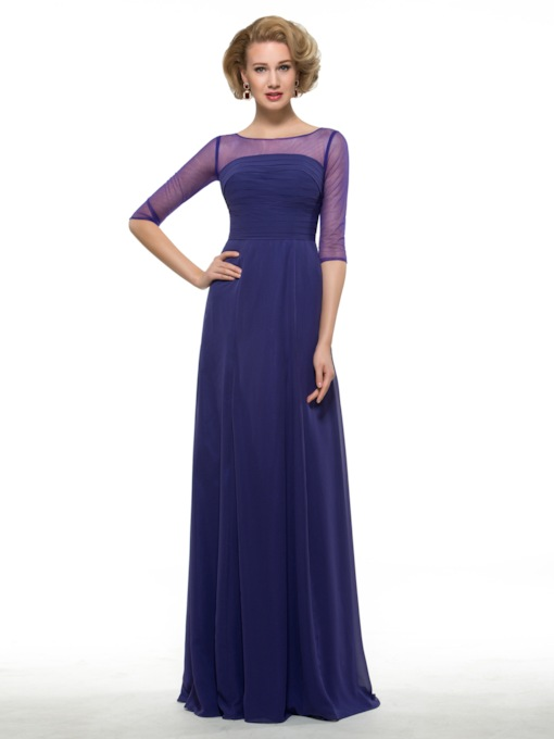 Sheer Neck Half Sleeve Mother of the Groom Dress