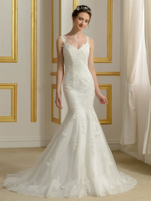 Sexy Appliques Lace Backless Trumpet/Mermaid Wedding Dress