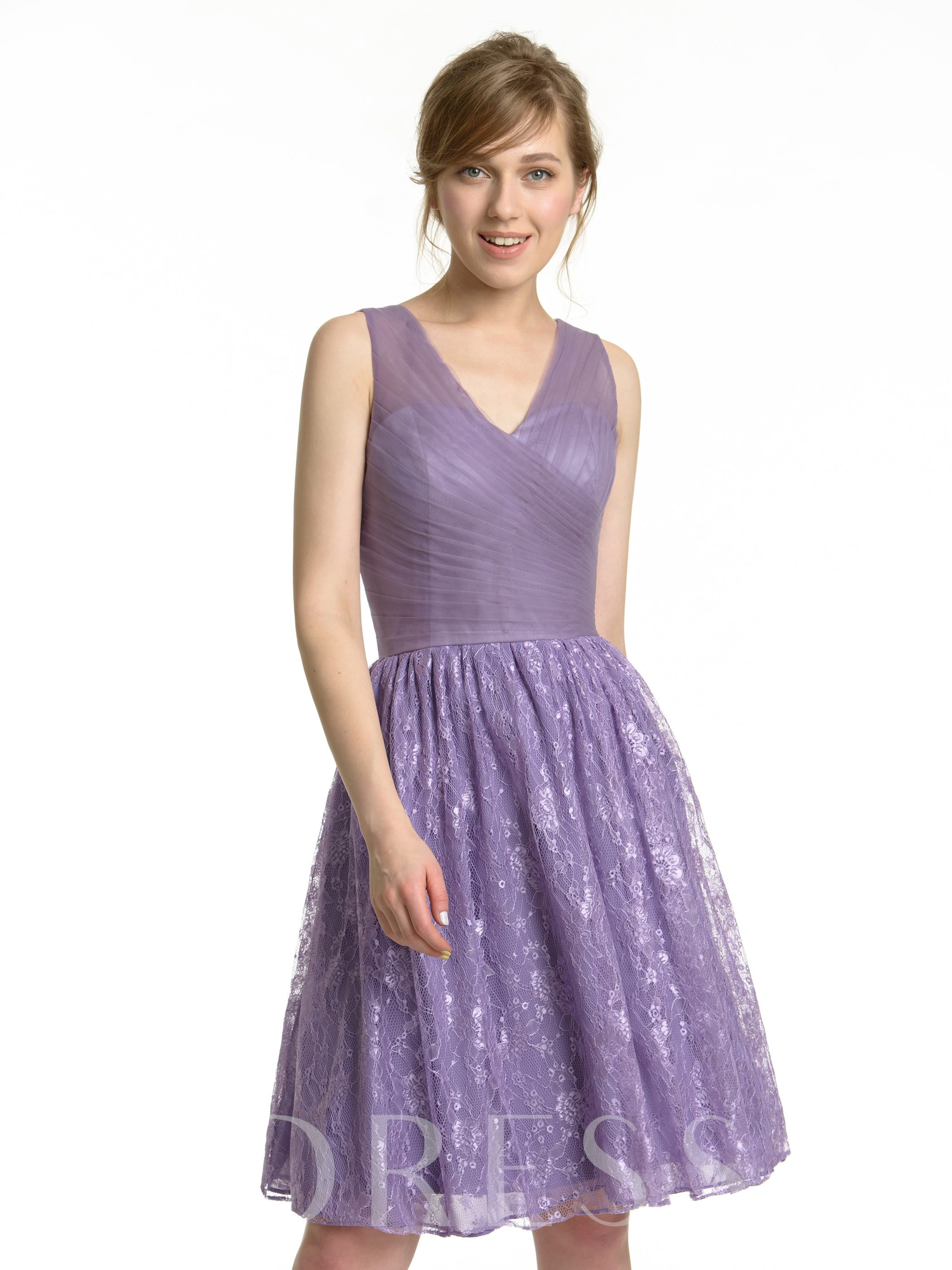 Image of Short V-Neck Lace Tulle Knee-Length Bridesmaid Dress