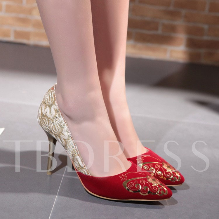 Pointed Toe Slip-On Lace Patchwork Women's Pumps