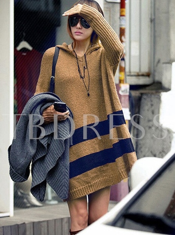 Striped Long Sleeve Loose Hooded Women's Sweater