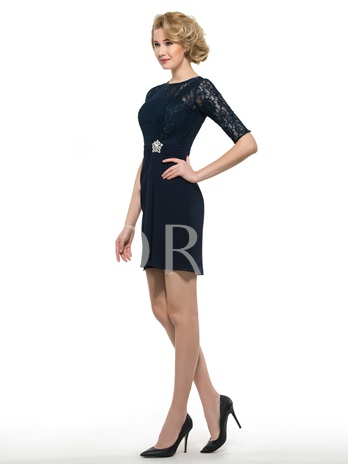 Knee-Length Half Sleeve Lace Short Mother of the Broom/Bride Dress