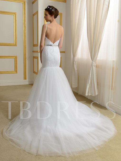 Backless Spaghetti Straps Tulle Trumpet/Mermaid Wedding Dress