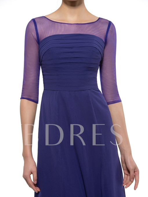 Half Sleeve Sheer Neck Mother of the Groom Dress