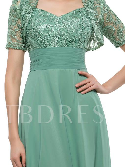 Lace Straps Mother Dress with Shot Sleeve Jacket