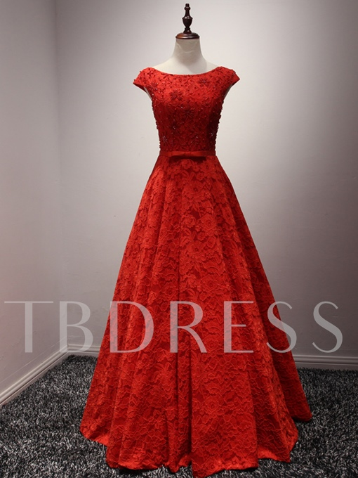 A-Line Scoop Neck Cap Sleeves Lace Beading Bow Evening Dress