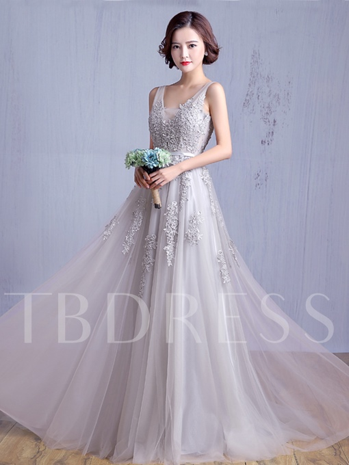V-Neck Backless A-Line Appliques Tulle Long Bridesmaid Dress