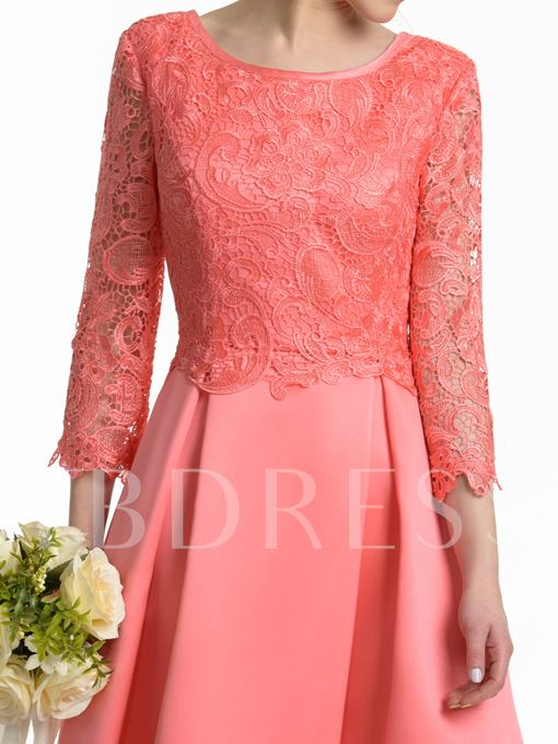 3/4 Length Sleeve Ankle-Length Lace Bridesmaid Dress