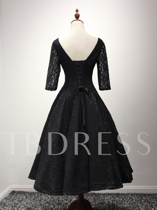 Half Sleeves V-Neck A-Line Lace Sashes Tea-Length Evening Dress