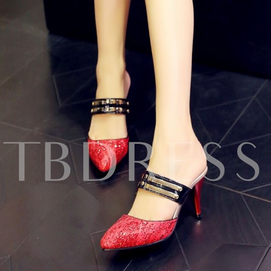 Sequins Slip-On Round Toe Awl High Heel Women's Sandals