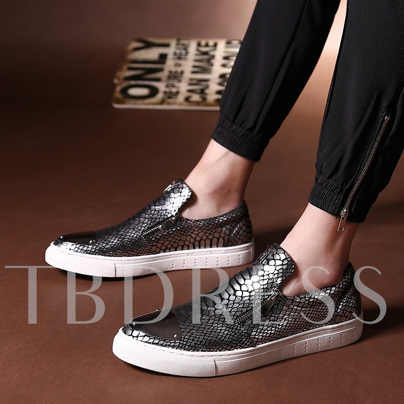 Side Zipper Round Toe Plaid Flat Heel Men's Sneakers