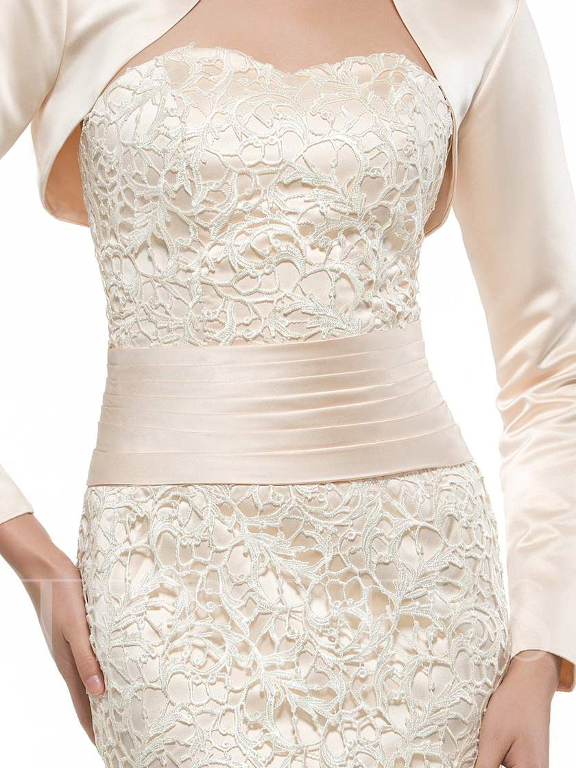 Sweetheart Lace Floor-Length Sheath/Column Mother of Bride Outfit with Jacket