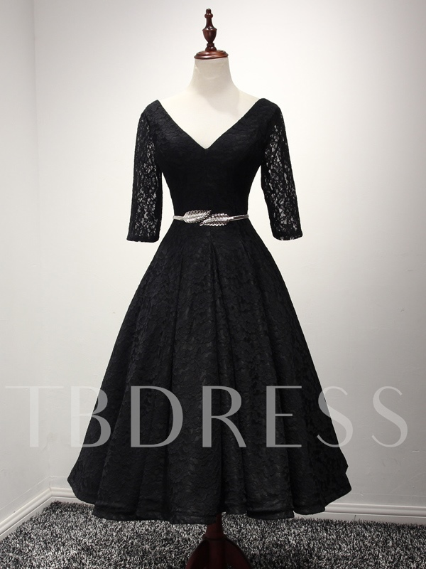 35252040de0 Half Sleeves V-Neck A-Line Lace Sashes Tea-Length Evening Dress. Sold Out