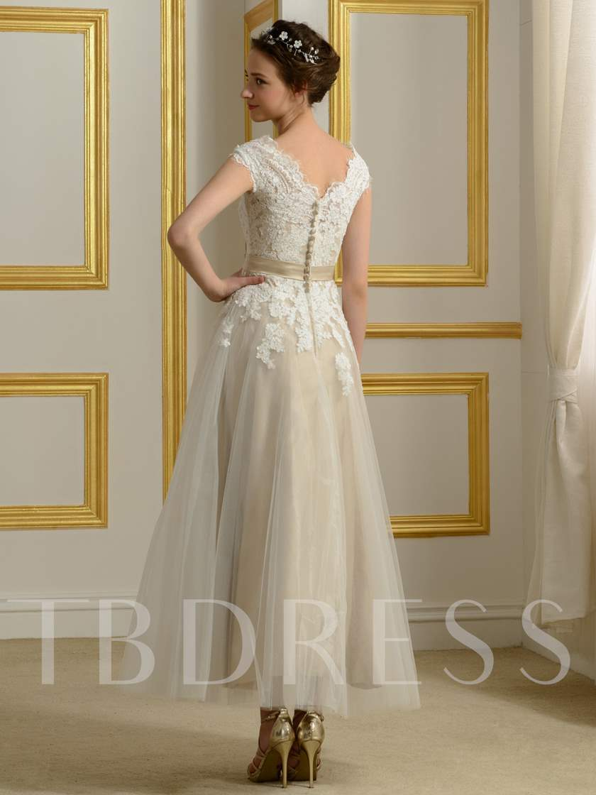 Appliques Tea Length Beach Wedding Dress Tbdress