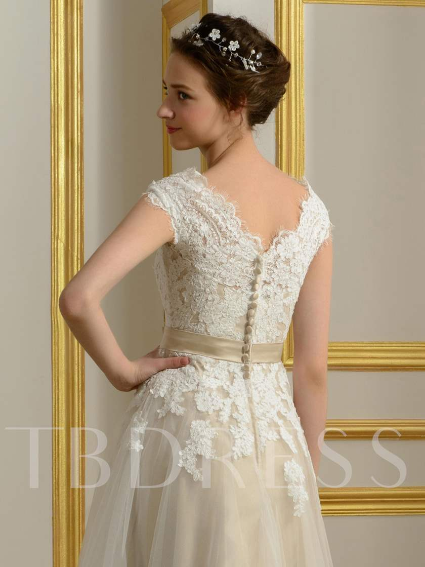 Appliques Button Tea-Length Beach Wedding Dress