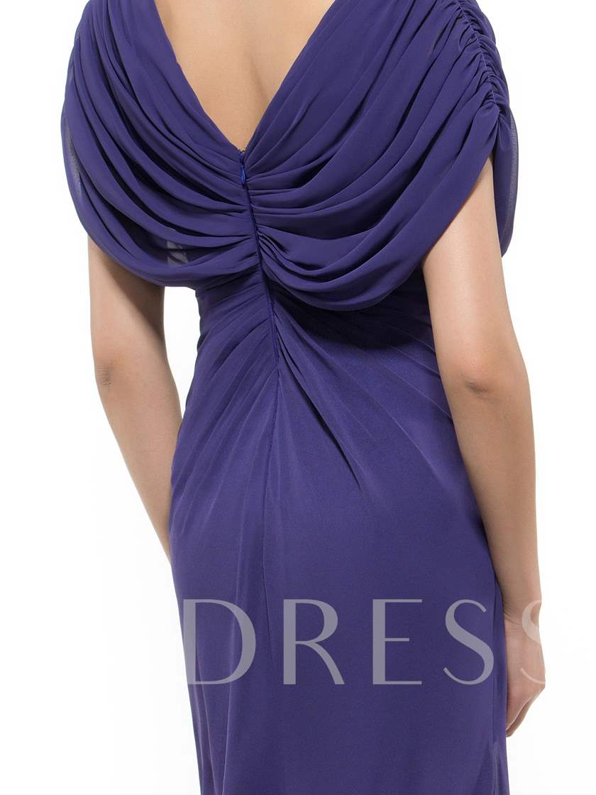 Beading Draped Cap Sleeves Mother Dress