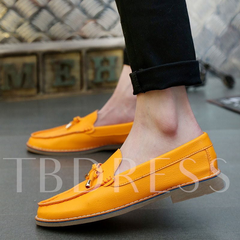 Square Low Heel Round Toe Low-Cut Upper Bowtie Men's Loafers