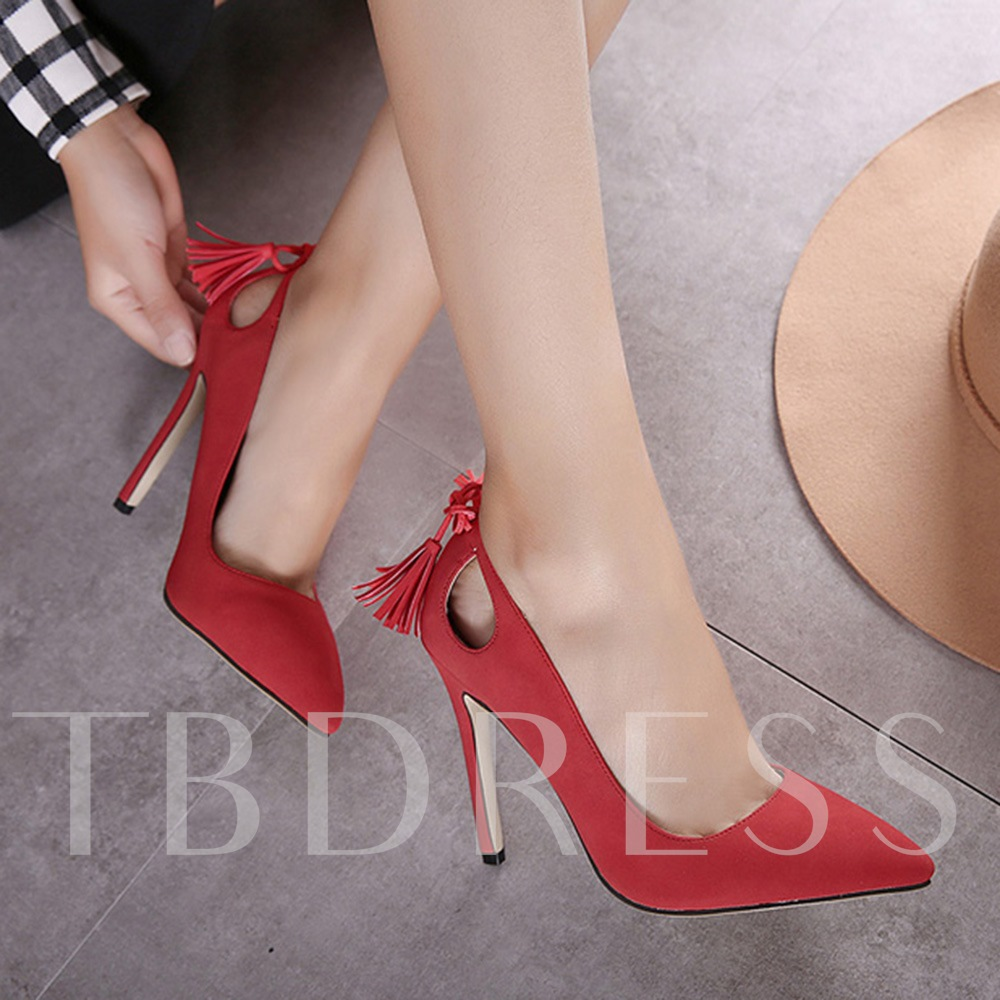 Hollow Tassel Slip-On Plain Stiletto Heel Pointed Toe Women's Pumps
