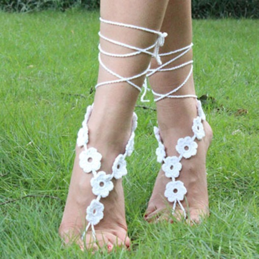 Multicolor Optional Cotton Crochet Manual Anklets(A Pair)