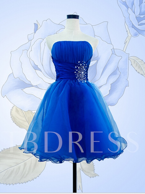 Image of A-Line Strapless Beaded Pleats Mini Cocktail Dress