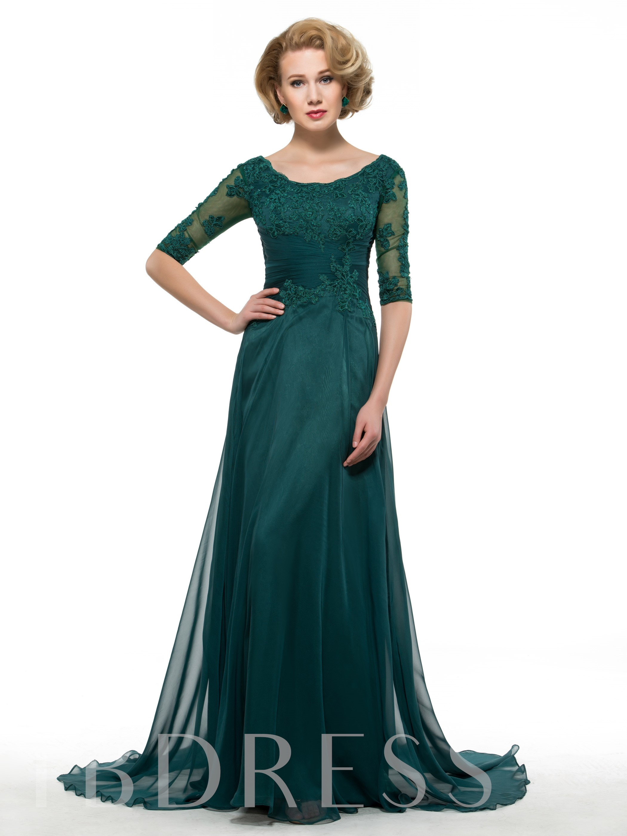 Image of Appliques Mother of the Bride Dress with Half Sleeve