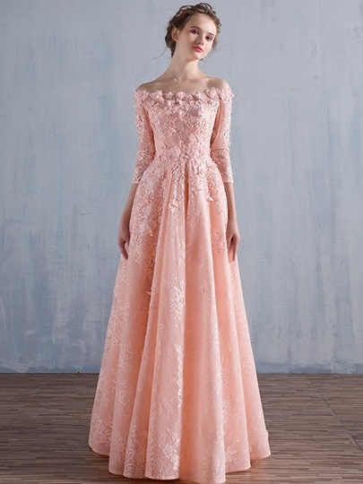 Flowers A-Line Appliques Beading Lace Evening Dress
