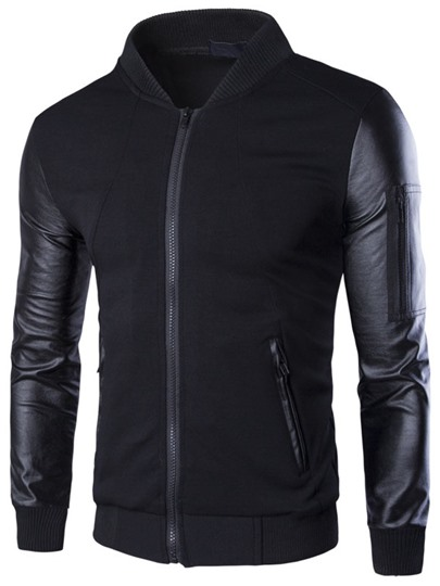 Stand Collar Single-Breasted Slim Fit Men's Baseball Jacket with PU Sleeve