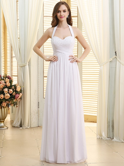 Sweehteart A-Line Halter Neck Lace-Up Beach Wedding Dress