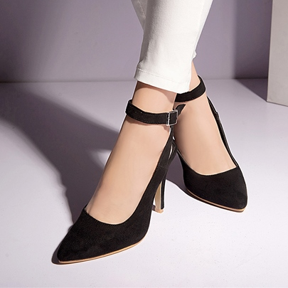 Stiletto Heel Buckle Plain Pointed Toe Women's Pumps