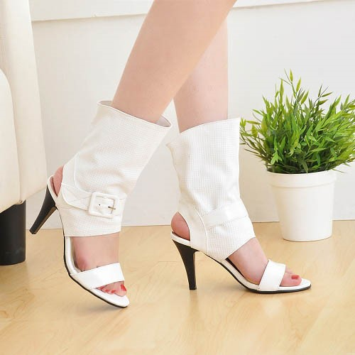 Open Toe Velcro Plain Stiletto Heel Ankle Women's Sandals