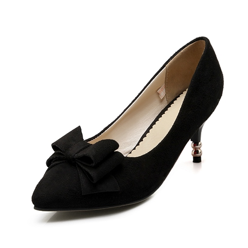Pointed Toe Slip-On Plain Bowtie Women's Pumps