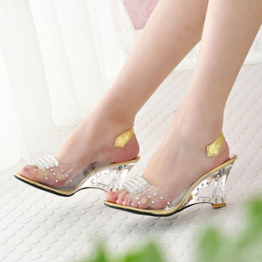 Peep Toe Wedge Heel Rhinestone Slip-On Patchwork Women's Sandals
