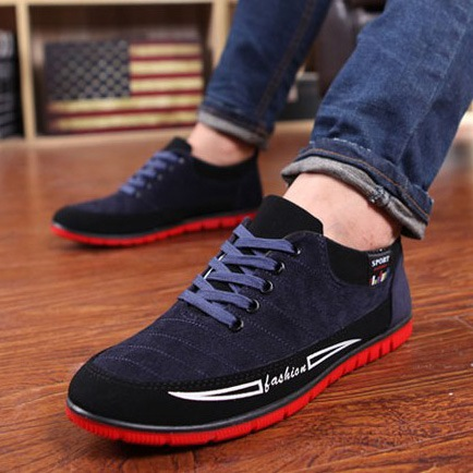 Round Toe Flat Heel Color Block Lace-Up Front Men's Loafers