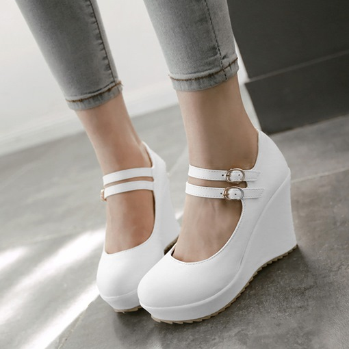 Round Toe Plain Platform Wedge Heel Women's Wedges