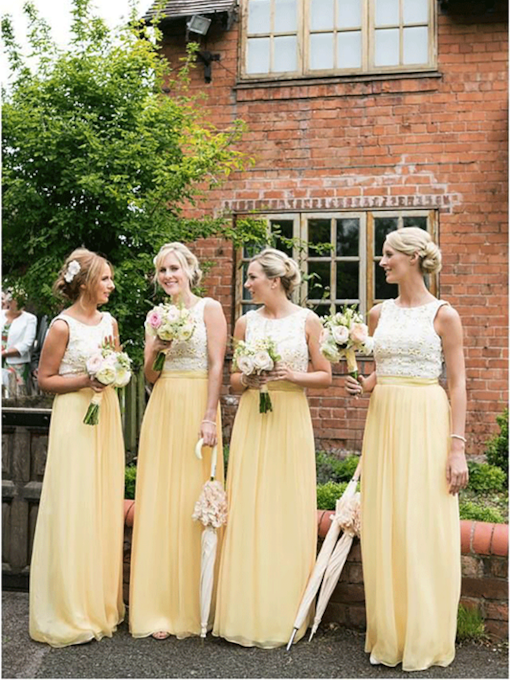 Straps Lace Top Long Bridesmaid Dress