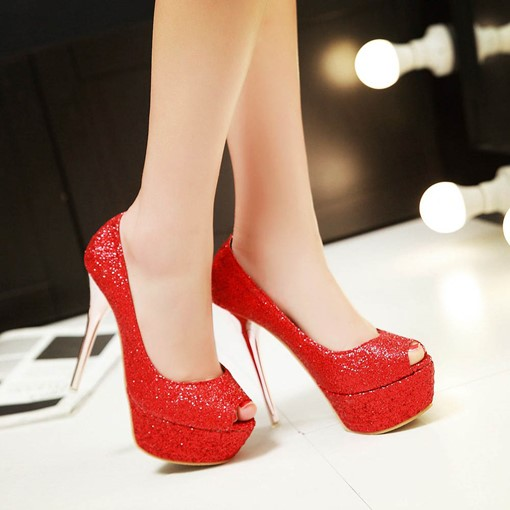 Platform Slip-On Plain Stiletto Heel Sequins Peep Toe Women's Pumps