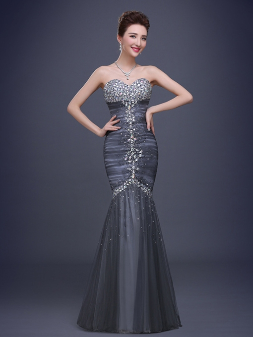 Mermaid Sweetheart Beadings Rhinestone Evening Dress