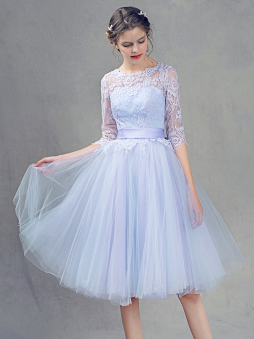 A-Line Jewel Neck Half Sleeves Lace Prom Dress