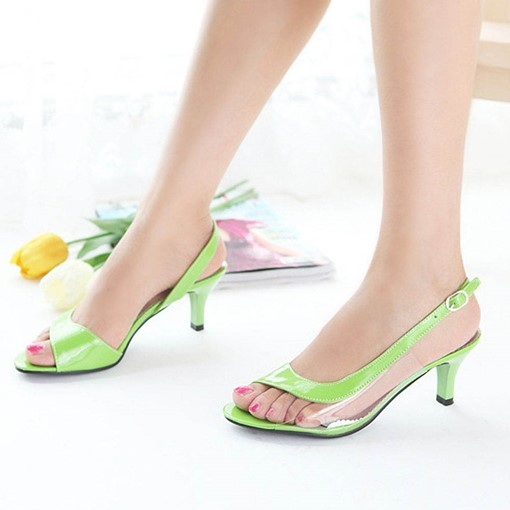 Goblet Heel Patchwork Peep Toe Stiletto Heel Women's Sandals
