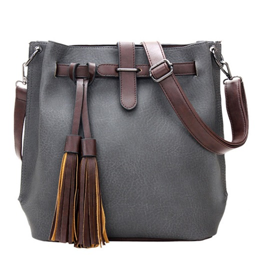 Bucket Shape Tassels Women's Shoulder Bag