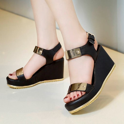 Open Toe Buckle Patchwork Platform Sequins Wedge Heel Women's Sandals