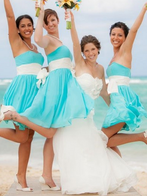 Sweetheart Chiffon Beach Cheap Bridesmaid Dress