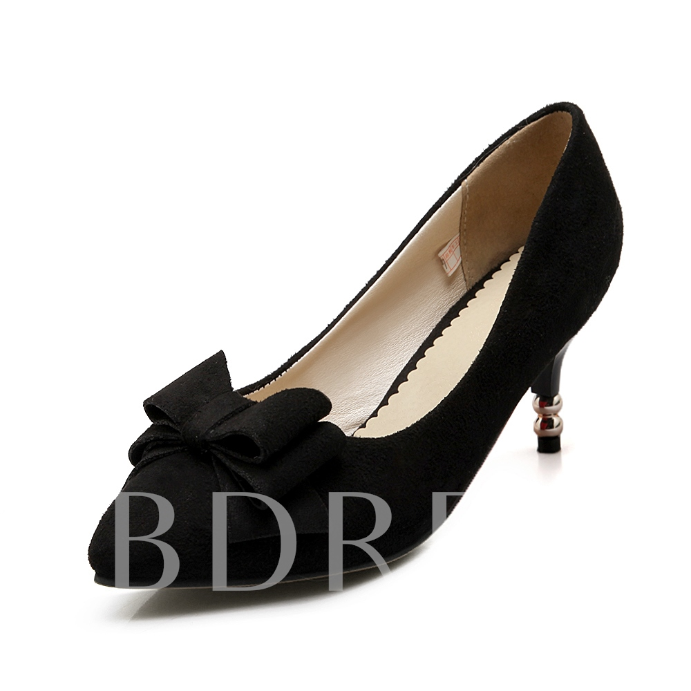 Buy Pointed Toe Slip-On Plain Bowtie Women's Pumps, Spring,Summer,Fall, 11638587 for $29.99 in TBDress store