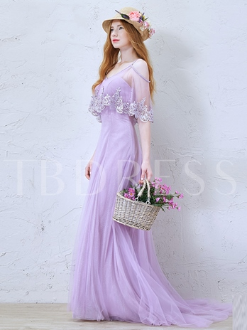 A-Line V-Neck Lace Brush Train Evening Dress