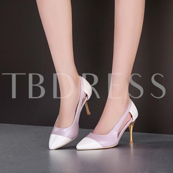 Stiletto Heel Color Block Slip-On Hollow Pointed Toe Women's Pumps